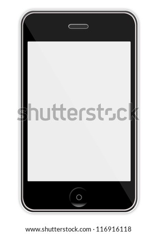 Mobile phone with blank screen isolated on white background