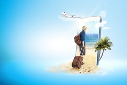 Mobile phone with blue background. Rear view of asian man in hat with suitcase bag and backpack walking to the beach and plane flying on the sky to the outside. Traveling concept