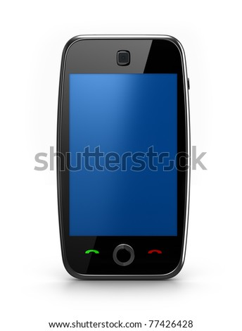 Mobile phone with blue screen isolated
