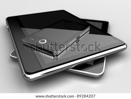 Mobile phone with digital tablets - stock photo