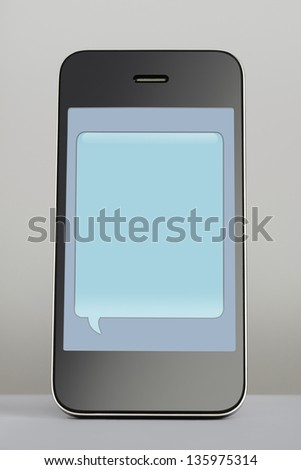 Mobile phone with empty text message speech bubble