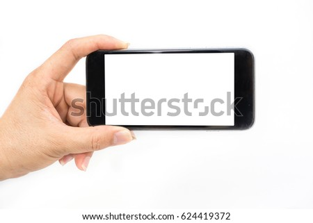 Mobile phone with hands on a white background. #624419372