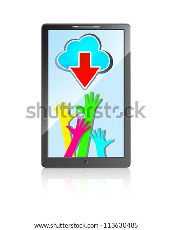 mobile phone with happy colorful hands, blue cloud  and red arrow on a white background