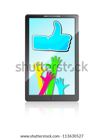 "Mobile phone with Happy hands and ""Like"" symbol on a white background"