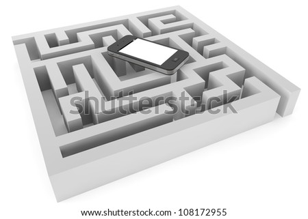 Mobile phone with labyrinth on a white background