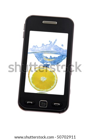 Mobile phone with lemon splash