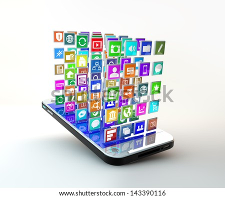 Mobile Phone with lots of apps icons flying around the display