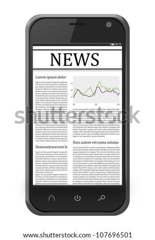 mobile phone with news on the screen isolated on white. Iphone-style gadget. - stock photo
