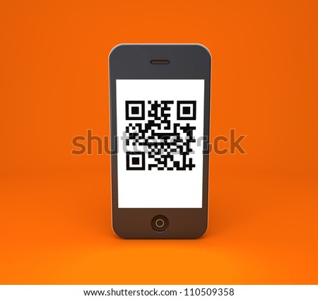 mobile phone with qr code on a orange background
