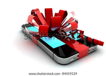 Mobile phone with red bow like a gift