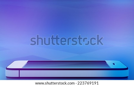 mobile phone with reflection on abstract background