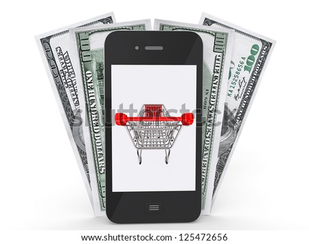 Mobile Phone with shopping cart on a screen and money on a white background