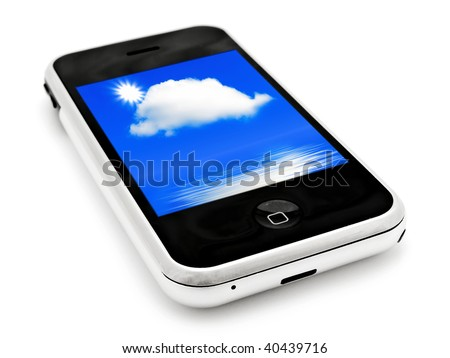 mobile phone with sky wallpapers over white