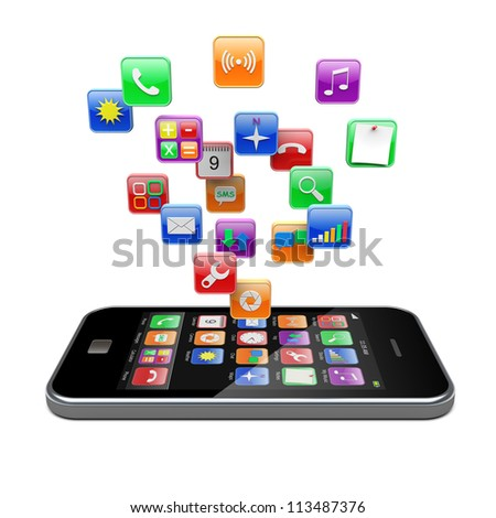 Mobile phone with software apps icons . 3d image