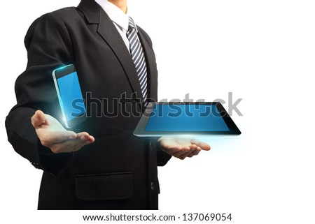Mobile phone with tablet computer technology in the hands of businessmen, isolated on white background Objects with Clipping Paths for design work