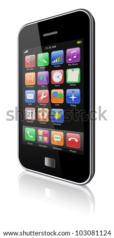 Mobile phone with touchscreen and colorful apps . 3d image