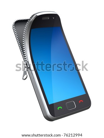 Mobile phone with zipper