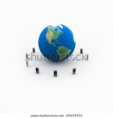 Mobile Phones Global - stock photo