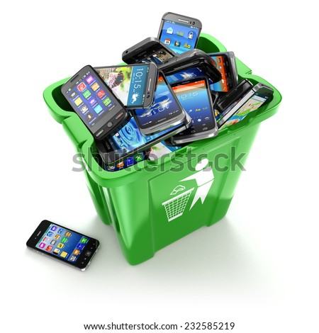 Mobile phones in trash can isolated on white background. Utilization cellphones concept. 3d