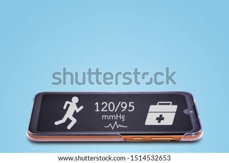 Mobile phones-Smart Phone have applications to help maintain health in the exercise to make the body healthy isolated on light blue background. With fill clipping paths easy to dicut.