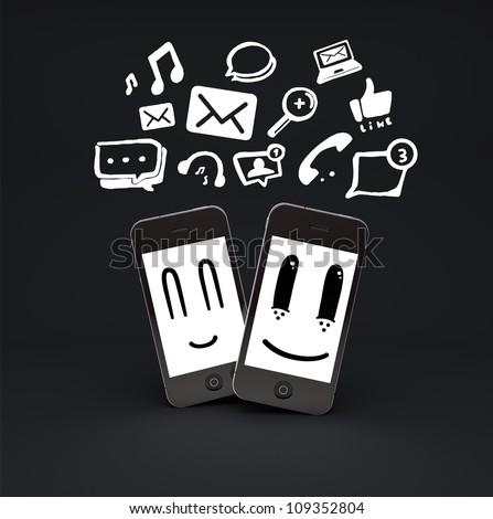 mobile phones smileys with social media icons