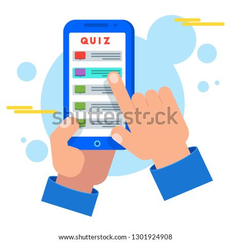 Mobile quiz application on smartphone screen. Hand presses button with answers to questions and riddles. Developing, teaching or entertaining program for mobile devices. Flat concept.