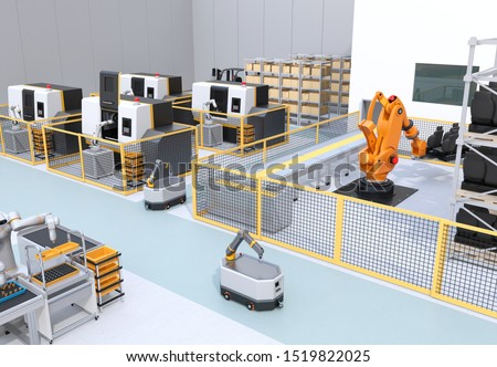 Mobile robots, dual-arm robot, heavy payload robot cell and CNC machines in smart factory. 3D rendering image.