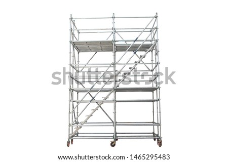 Mobile scaffolding, white background, used in construction areas. Сток-фото ©