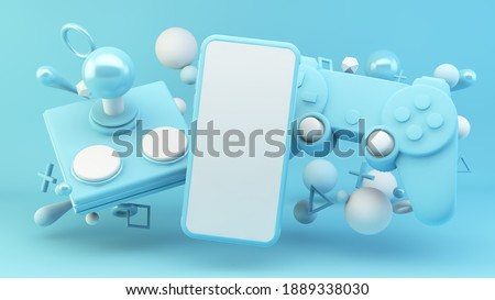 Mobile screen surrounded by blue gaming elements 3d rendering mock up