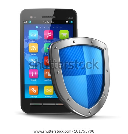 Mobile security and antivirus protection concept: black glossy touchscreen smartphone covered by metal protection shield isolated on white background