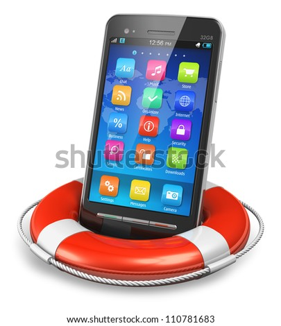 Mobile security and emergency services concept: black glossy touchscreen smartphone in lifesaver buoy isolated on white background