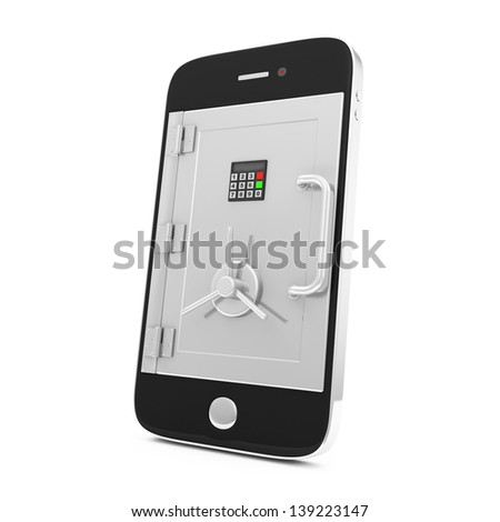 Mobile Security and Protection Concept. Smartphone with Safe Door isolated on white background