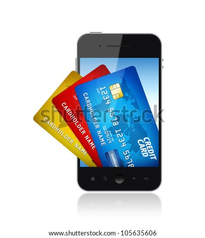 Mobile smart phone with bunch of credit card on a screen. Electronic payments concept image.