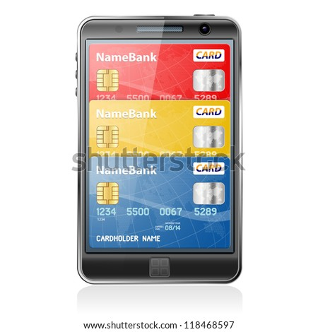 Mobile Smart Phone with Credit Cards. Internet Shopping and Electronic Payments Concept