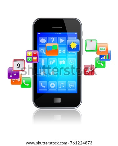 Mobile smart phone with software apps icons around . 3d image