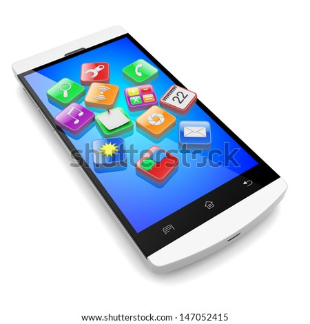 Mobile smart phone with software apps icons . 3d technology concept
