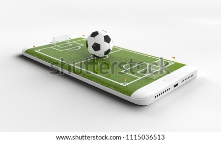 Mobile soccer. Football field on the smartphone screen and ball. Online ticket sales concept. 3d rendering.