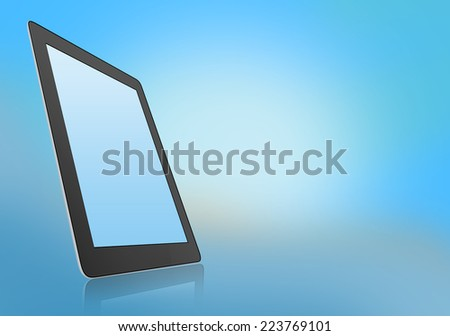 mobile tablet with reflection under the base