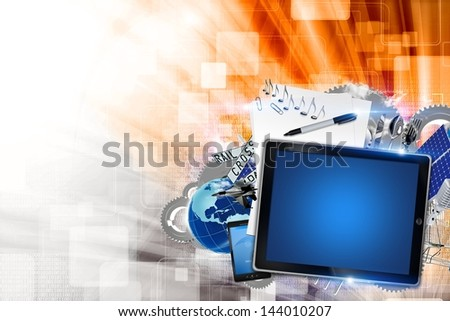 Mobile Technology Illustration with Mobile Devices and Other Elements. Left Side Copy Space. Technology Collection. - stock photo