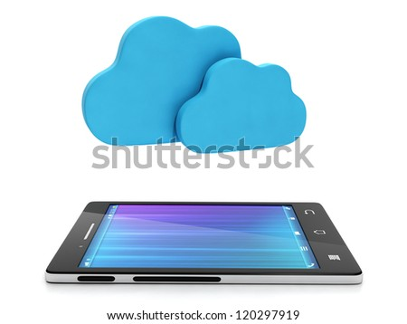 Mobile technology. Mobile phone and a group of clouds, upload content via the Internet, cloud computing