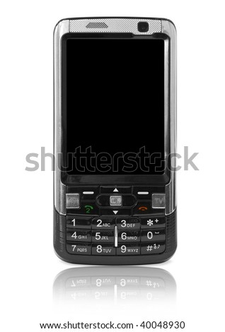 mobile technology. modern cell phone isolated on white