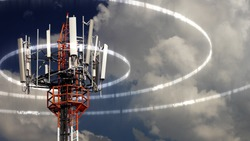 Mobile telecommunication tower or cell tower with antennae and electronic communications equipments