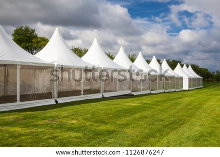 Mobile tents for trade show at amazing sunset #1126876247