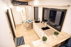 Mobile tiny house interior. Great for outdoor experiences and wildlife. Lots of space and pure adventure.