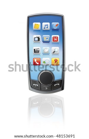 Mobile touch screen phone digitally altered and rendered from original to avoid copyright issues