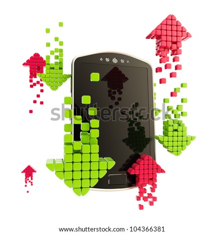 Mobile upload and download concept as phone illustration with red and green arrow icons isolated on white