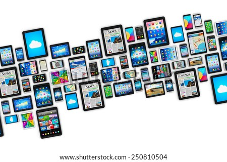 Mobility and digital wireless communication technology business concept: group of tablet computers and smartphones with colorful display screen interfaces with icons isolated on white background