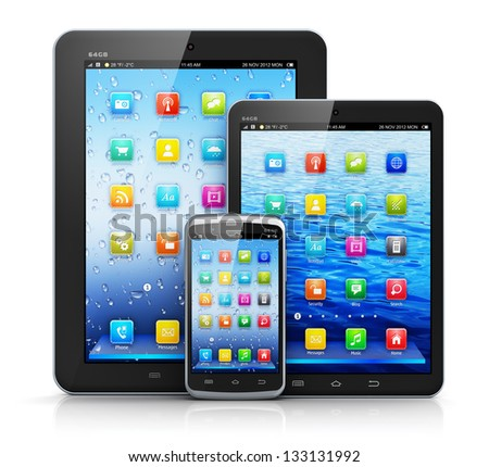 Mobility and modern telecommunication concept: standard tablet computer, mini version of tablet PC and touchscreen smartphone with color interface isolated on white background with reflection effect