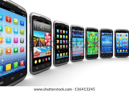 Mobility and wireless telecommunication concept: group of modern black glossy touchscreen smartphones with color mobile application interfaces with color icons and buttons isolated on white background