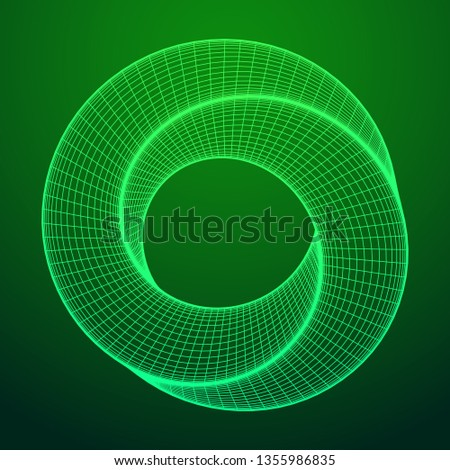 Mobius strip ring sacred geometry. Spatial figure with upturned surfaces. Optical illusion with dual circular contour. Wireframe low poly mesh 3d render illustration.
